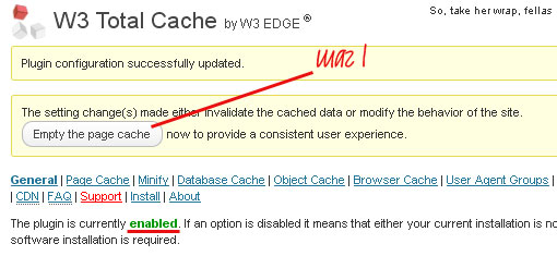 Wordpress плагин W3 Total Cache - enable