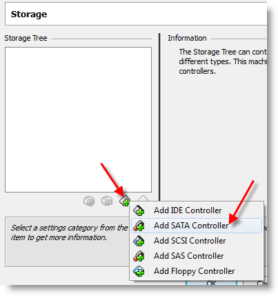 virtualbox: добавление sata-контроллера