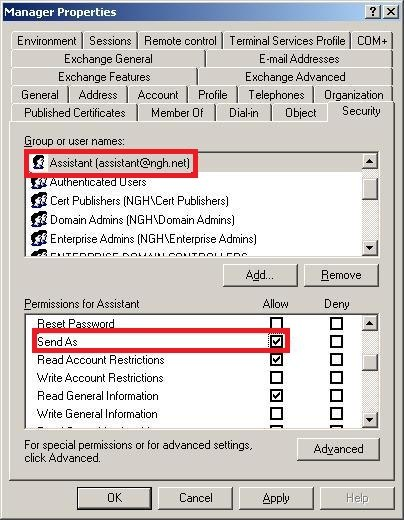 Active Directory Exchange Send As